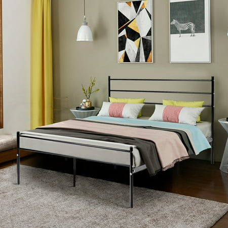 Costway Black Full Size Metal Bed Frame Platform Headboard 10 Legs Furniture