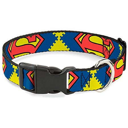 Plastic Clip Collar - Jagged Superman Shield CLOSE-UP Yellow Blue Red - Pet Collar 1.0