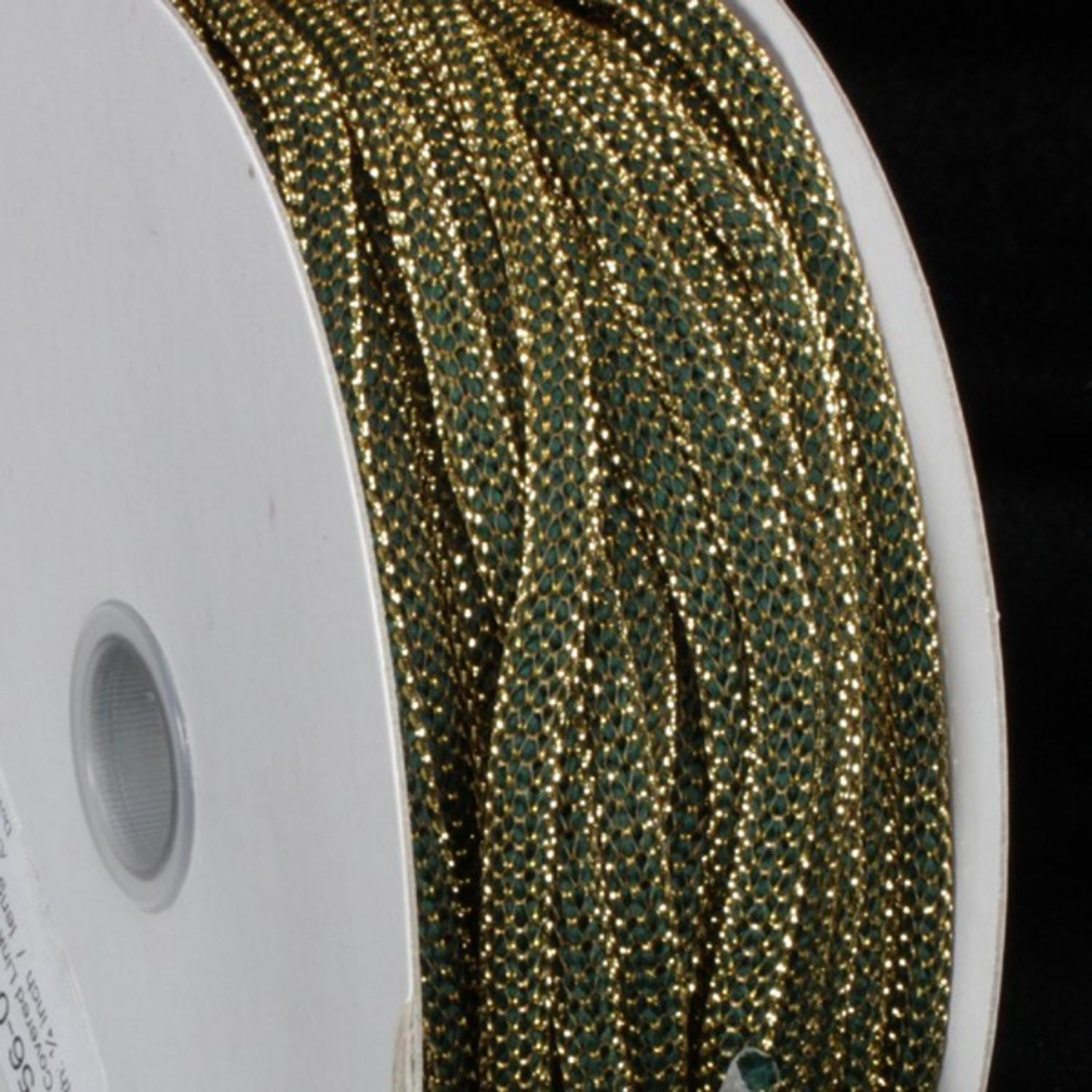 "Gold Covered Hunter Green Link Craft Cord .25"" x 55 Yards"