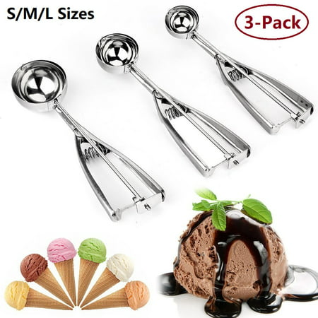 Cosyitems 3Pcs Ice Cream Scoop Cookie Dough Scoop Melon Baller -Stainless Steel / For Christmas Parties