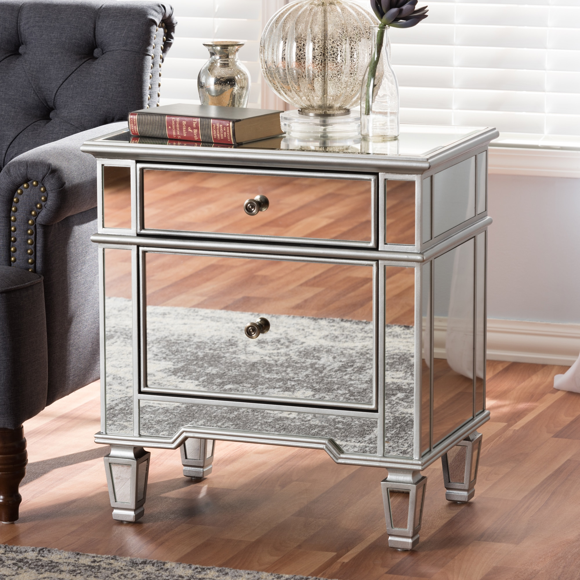 Baxton Studio Glam Silver Mirrored Nightstand by