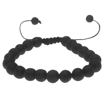 Contemporary Gemstone Bracelet (Natural Lava Gemstone Bead Bracelet, Round 8mm, 1 Bracelet, Black)