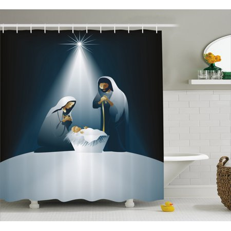 Religious Shower Curtain, Xmas Nativity Scene with Holy Family Maria Joseph Baby Child Star Winter, Fabric Bathroom Set with Hooks, 69W X 75L Inches Long, Black White Grey, by Ambesonne