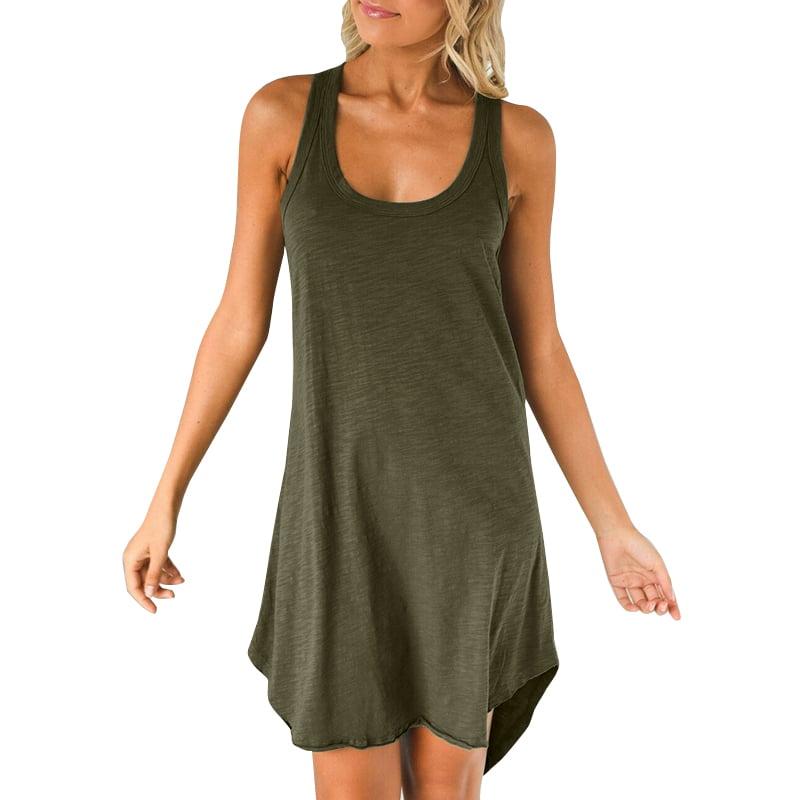 Extravagant Maxi Dress Asymmetric Cotton Sleeveless Top Maxi Casual Vest Top by SSDfashion Plus Size Zipper Green Tunic