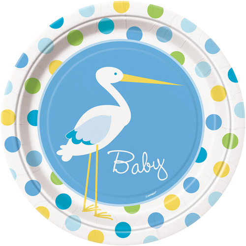 "9"" Blue Stork Baby Shower Plates, 8ct"