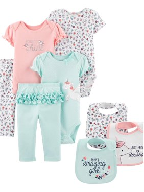 Child of Mine by Carter's Baby Girl Clothes Bodysuits, Pants, & Bibs Shower Gift Set, 8-Piece