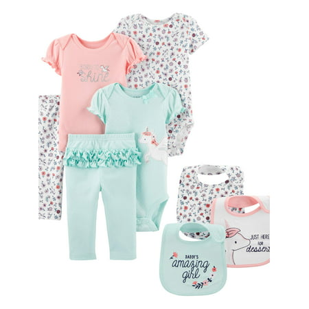 Child Of Mine By Carter's Mix N Match Bodysuits, Pants, & Bibs, 8pc Outfit Set (Baby Girls)