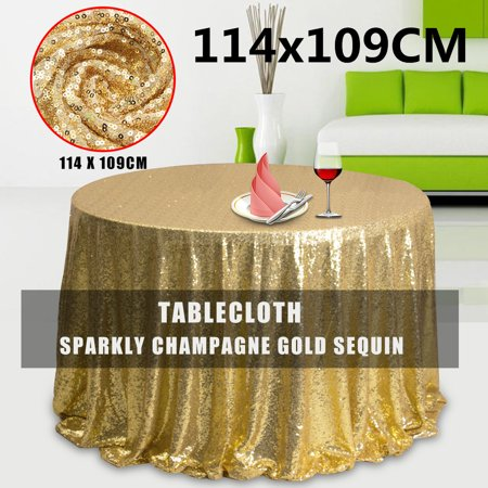 Sequin Table Cover Glitter Sparkly Fabric Tablecloth For Wedding/Event/Party/Banquet Photography Backdrop Champagne Gold Christmas Home Decor Gift 50''X45''](Glitter Table Cloth)