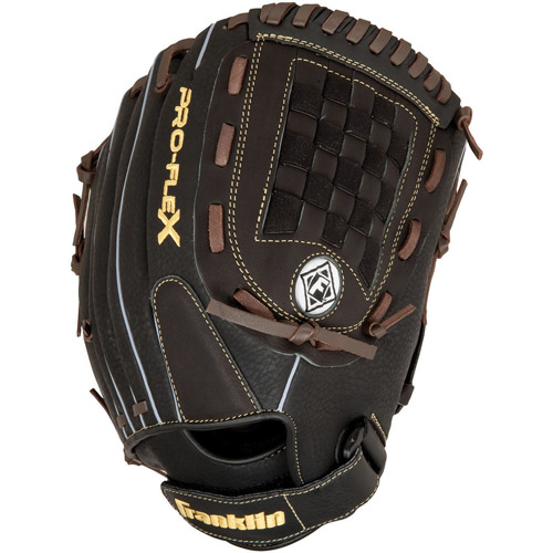 Franklin Sports Pro Flex Right Hand Throw Glove, 12-Inch, Black Brown by Franklin