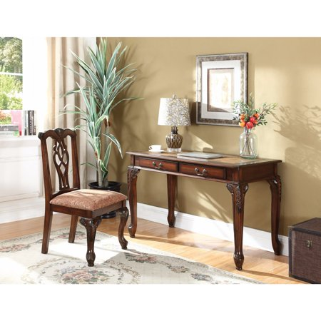 Traditional Style Wooden Carved Desk Set, Brown