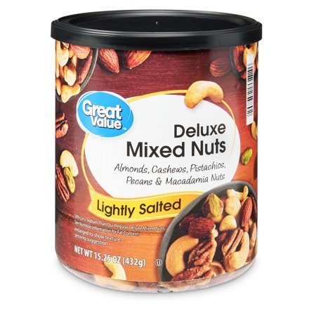 Fruit Nut Mix (Great Value Deluxe Mixed Nuts, Lightly Salted, 15.25 Oz)
