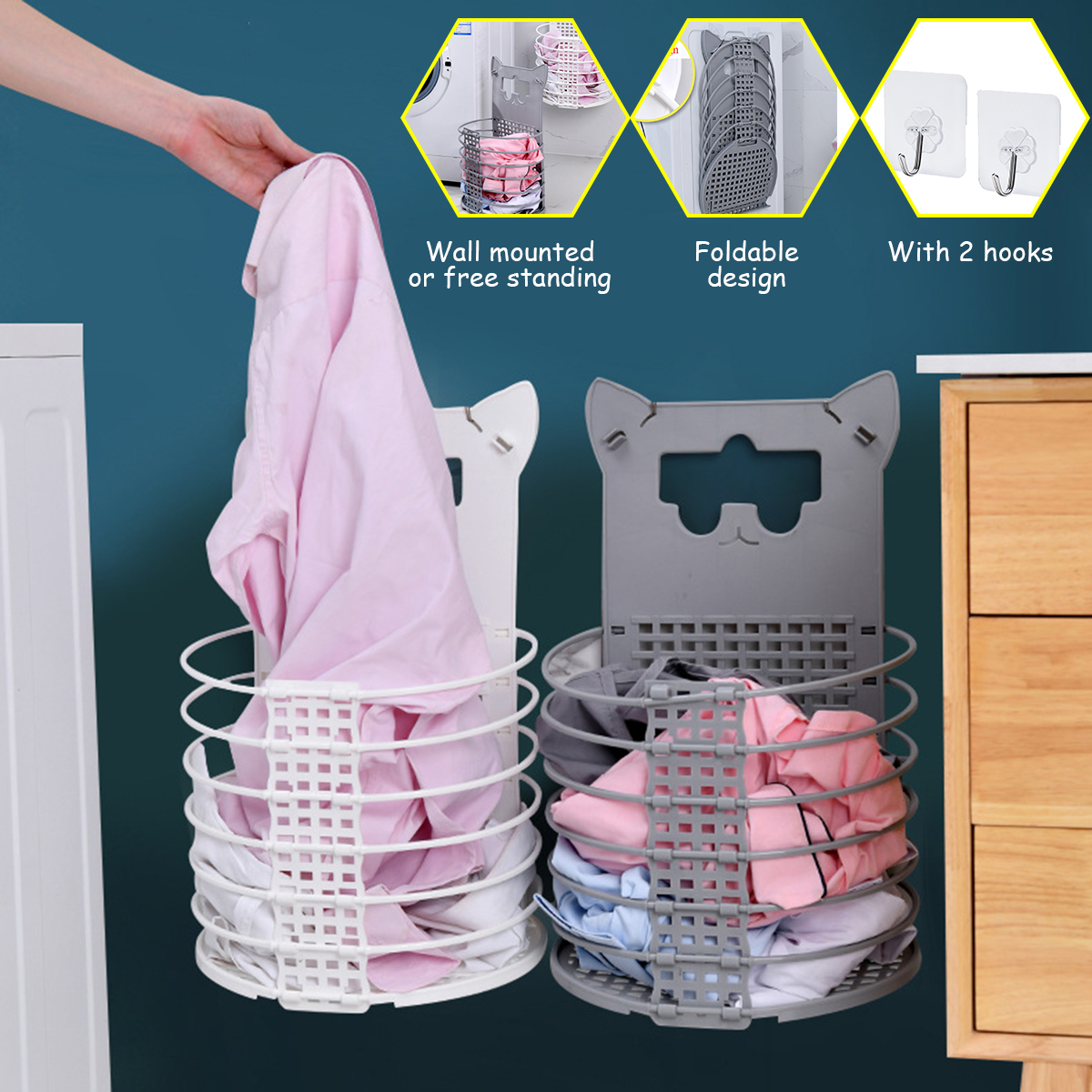 Cute Cat Shaped Foldable Dirty Laundry Basket Organizer Hamper Cloth Sorter Basket For Kids Walmart Com Walmart Com