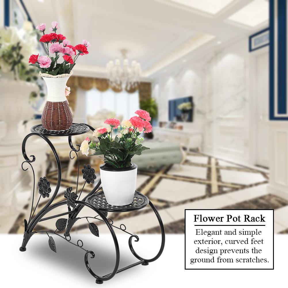 Knifun 2 Tiers Iron Floor-Standing Plant Display Stand Flower Pot Rack for Garden Patio Decor, Plant Stand, Iron Flower Pot Rack