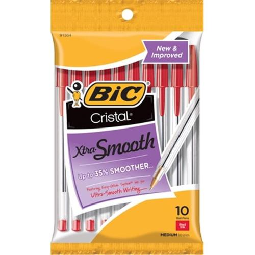BIC Cristal Ball Pen, Medium, Red, 10-Pack