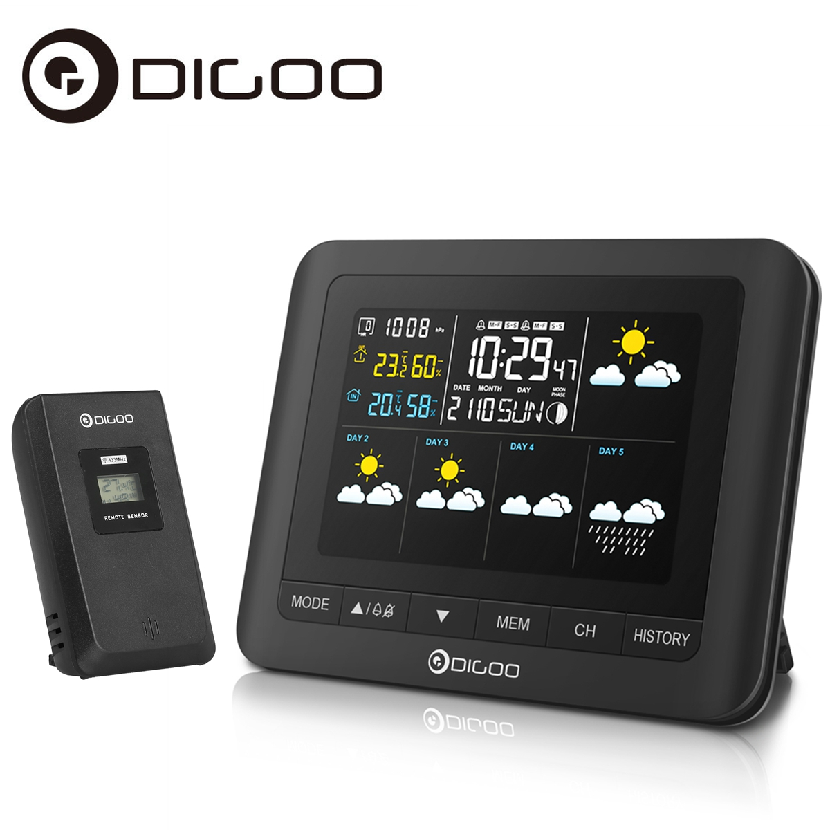 Digoo DG-TH8805 Wireless Five Day Forecast Weather Station,Digital Full-Color Screen,Indoor Outdoor Sensor... by