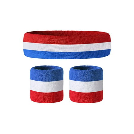 Awkward Styles Wrist Sweatbands Set of Wristband & Headband Perfect for Yoga Wristbands for Sports 80s Themed Wrist Sweatbands and Retro Headband Red White & Blue American Flag Headband and Wristbands