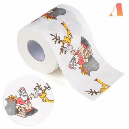 Akoyovwerve Christmas Santa Claus Deer Print Toilet Roll Paper Tissue Living Room Table