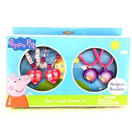 Peppa Pig Best Friends Pink Jewelry Set - 2 Necklaces and Bracelets Matching Set - image 1 of 1