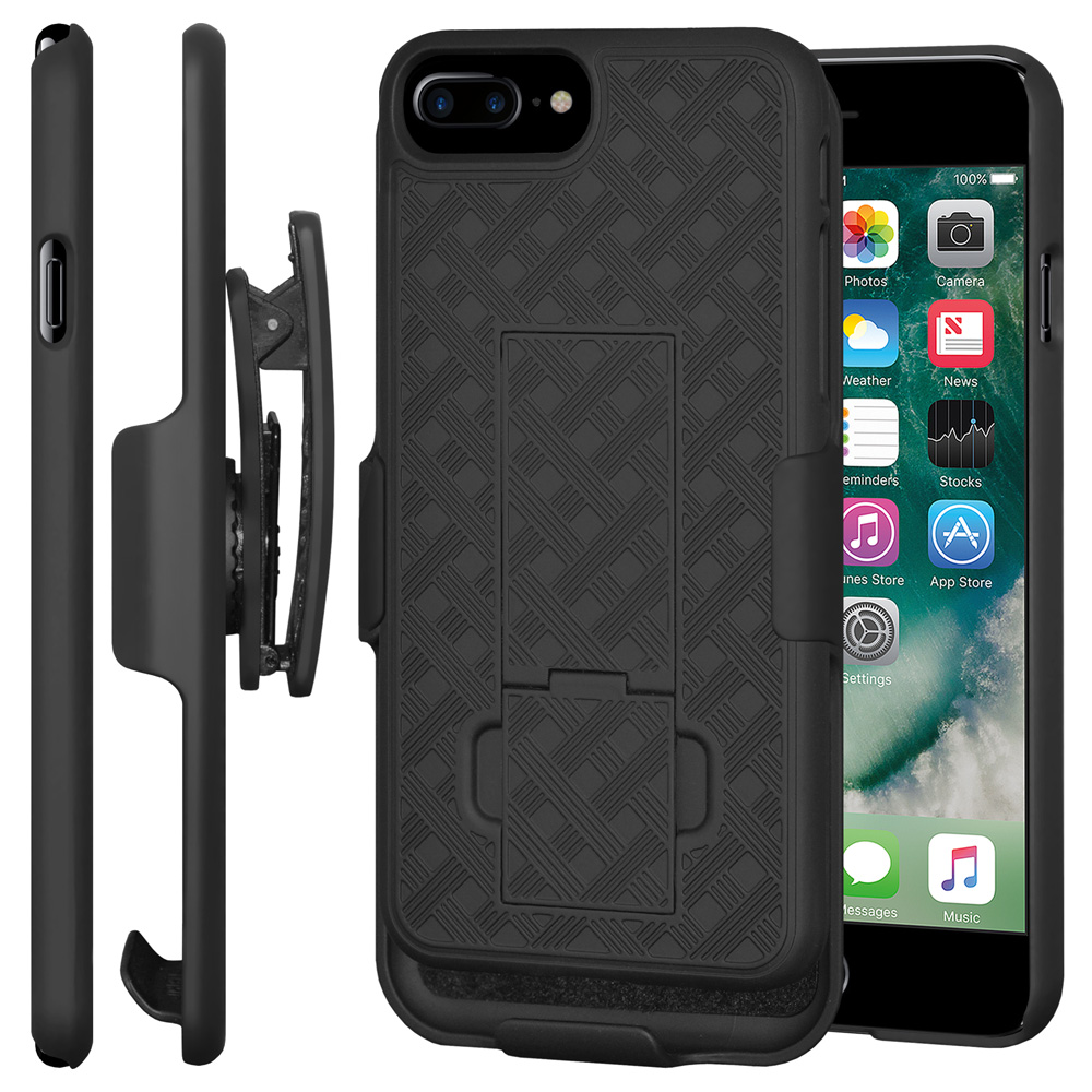 iPhone 7 Plus Accessory Combo Pack - Shell Case With Built-In Kickstand, Swivel Belt Clip Holster Case, Premium Tempered Glass Screen Protector Shield for iPhone 7 Plus
