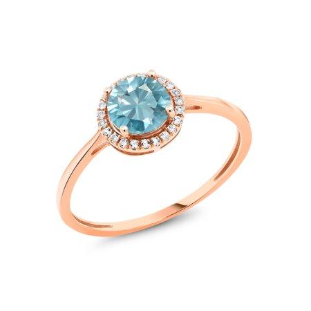 Blue Zircon Birthstone (1.42 Ct Round Blue Zircon White Diamond 10K Rose Gold)