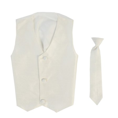 Boys Ivory Poly Silk Vest Necktie Special Occasion Set 12/14](Silk Spectre Outfit)