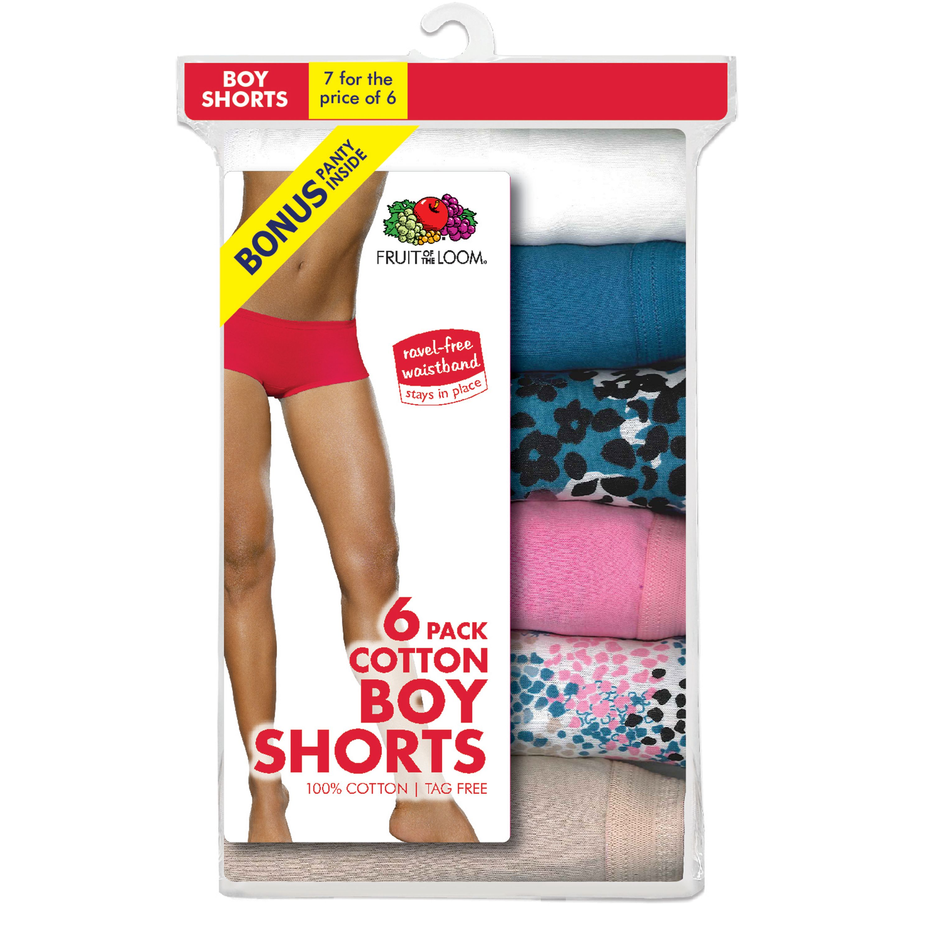 Ladies' Assorted Color Cotton Boy Shorts, 6+1 Bonus Pack