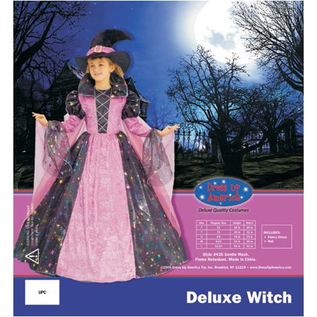 Pink And Black Witch Costume (Dress Up America 435-L Deluxe Witch - Large)
