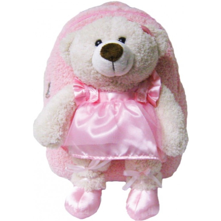 Kids Pink Ballet Bear Animal Plush Toddlers Backpack
