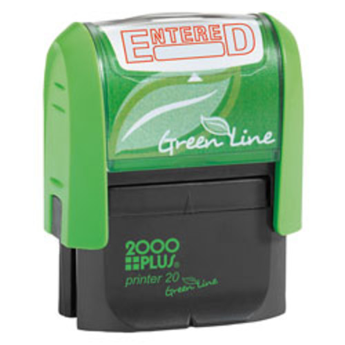 2000 PLUS 2000 PLUS Green Line Message Stamp, Entered, 1 1/2 x 9/16, Red