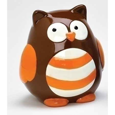 3 75  Whimsical Brown And Orange Striped Owl Childrens Savings Piggy Bank