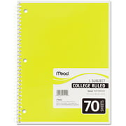 Mead Spiral Bound Notebook, College Rule, 8 x 10-1/2, 1-Subject, 70 Sheets, Colors May Vary
