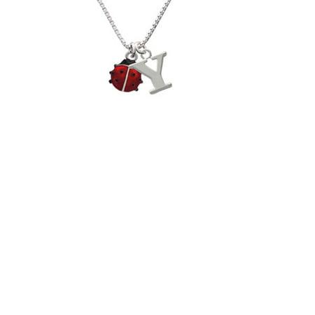Bug Necklace (Silvertone Mini Red Translucent Ladybug Capital Initial Y)