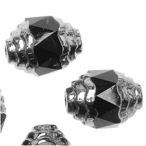 Czech Cathedral Glass Art Deco Beads 10mm Jet Black with Silver Ends (10)