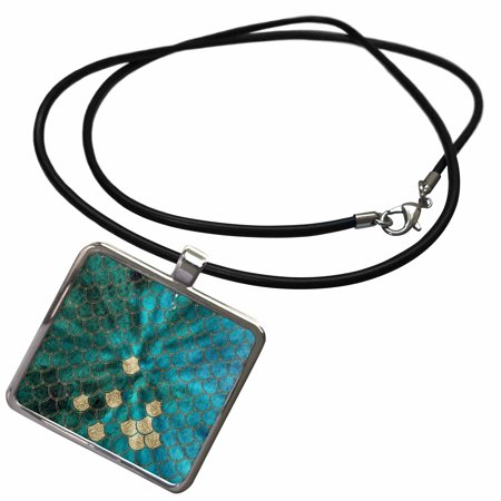 3dRose Sparkling Cyan Green Luxury Mermaid Scales Glitter Effect Art print - Necklace with Pendant