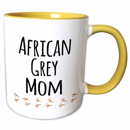3dRose African Grey Parrot Mom - bird lover exotic pet owner - for her - text with bird footprints - Two Tone Yellow Mug, 11-ounce ()