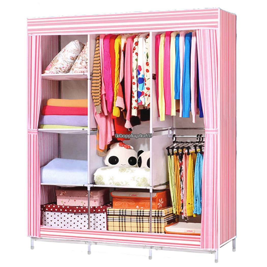 "68"" + 70"" Portable Closet Garment Wardrobe Storage Organizer Clothes Shoe Rack Space Saving"