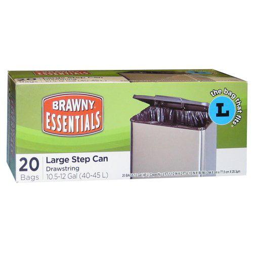 Brawny Essentials 40/45-Liter Drawstring Bags, 20-Pack