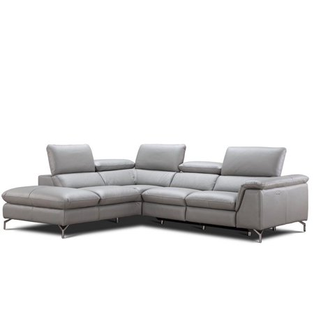 J&M Viola Modern Premium Grey Italian Leather Sectional Sofa Left Hand  Facing