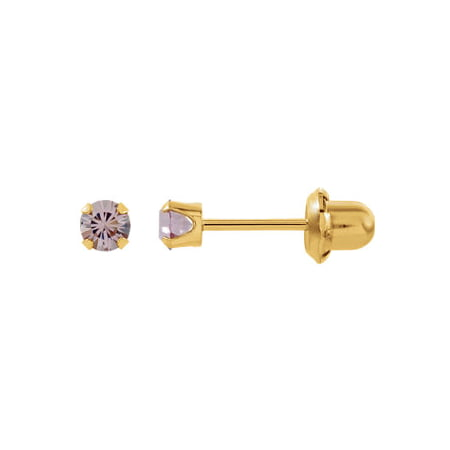 Jewels By Lux Set 14K Yellow Gold Imitation Alexandrite Polished Inverness Birthstone Piercing Earrings