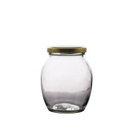 PrestoWare 1351, 0.35L / 11.8 oz Glass Jar for Jam, Honey, Wedding Favors, Shower Favors, Baby Foods, Canning, Spices, Vintage Jar with Metal Screw Lid (12) - Honey Jar Halloween Costume