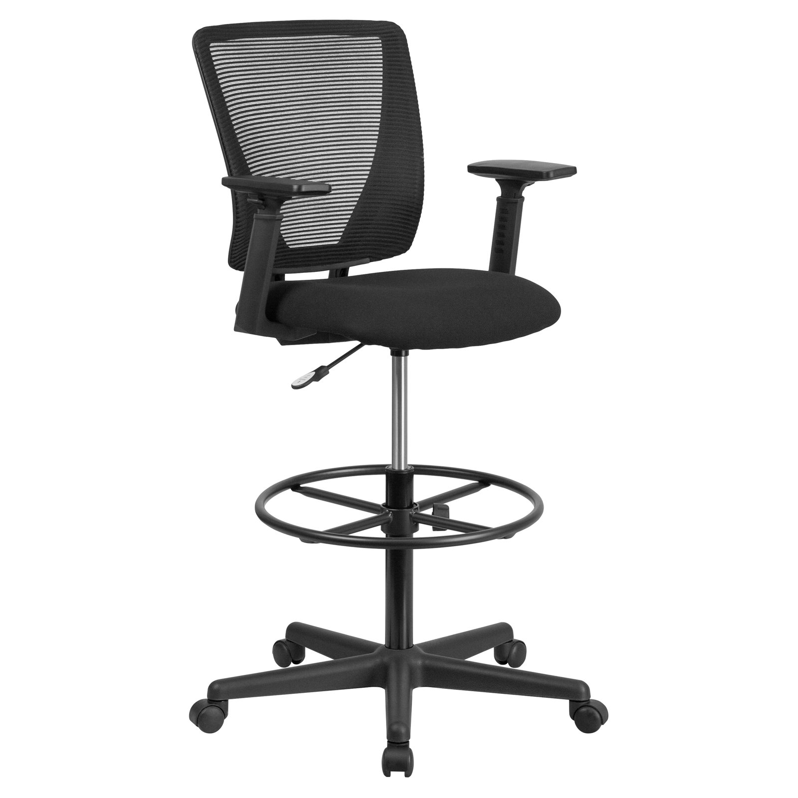 Flash Furniture Ergonomic Mid Back Mesh Drafting Chair With Black Fabric  Seat, Adjustable Foot