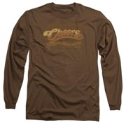 Trevco Cheers-Scrolled Logo - Long Sleeve Adult 18-1 Tee - Coffee, Medium