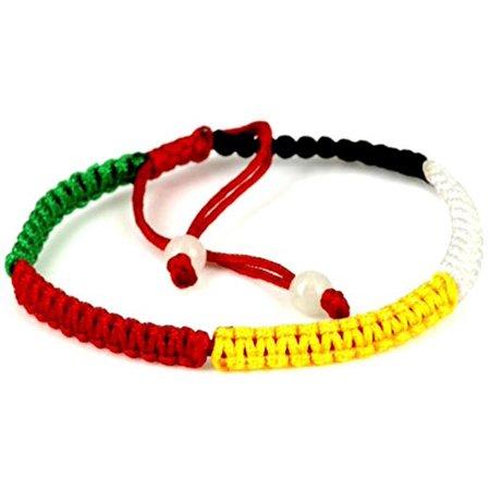 Feng shui 5 color element adjustable macrame style bracelet with 2 gemstone beads - women men (Shrug Elements)