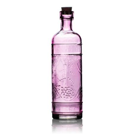 Glass Flower Vase (Mabel Pink Vintage Glass Bottle Glassware Flower Vase )