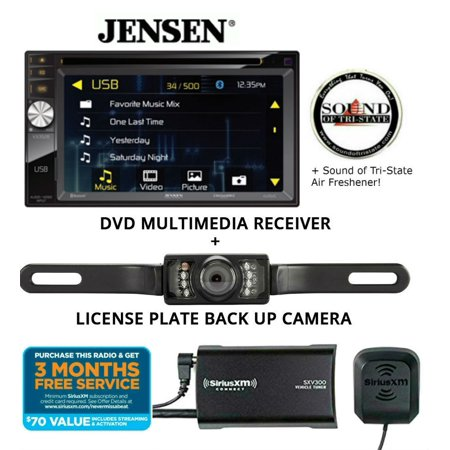 Jensen VX3528 DVD receiver w/ SiriusXM SXV300KV1 Satellite Radio Tuner and License Plate Backup Camera and a SOTS Air Freshener
