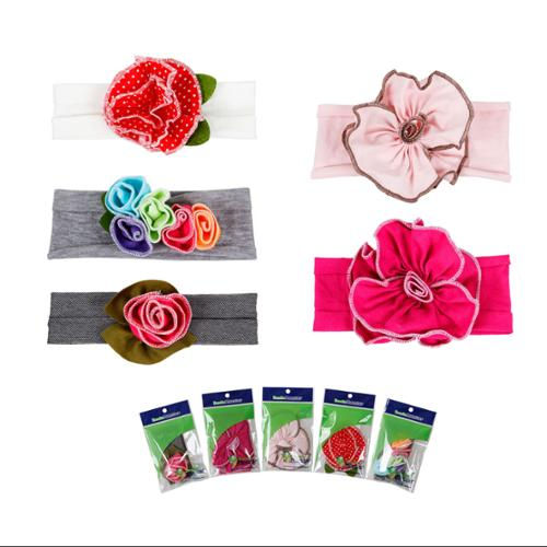 Bundle Monster 5pc Colorful Baby Girls Cotton Pretty Flower Hair Headband- Lot 1