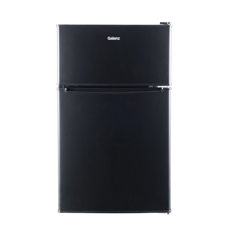Galanz 3.1 Cu Ft Two Door Mini Fridge with Freezer GL31BK, Black