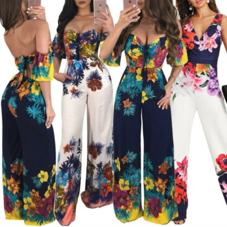 Fashion Sexy Boho Summer Women Jumpsuits Off Shoulder Strapless Belt Backless Floral Print Jumpsuits