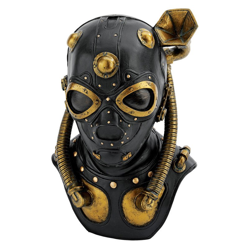 Design Toscano Steampunk Apocalypse Gas Mask Statue 10H in. by Design Toscano