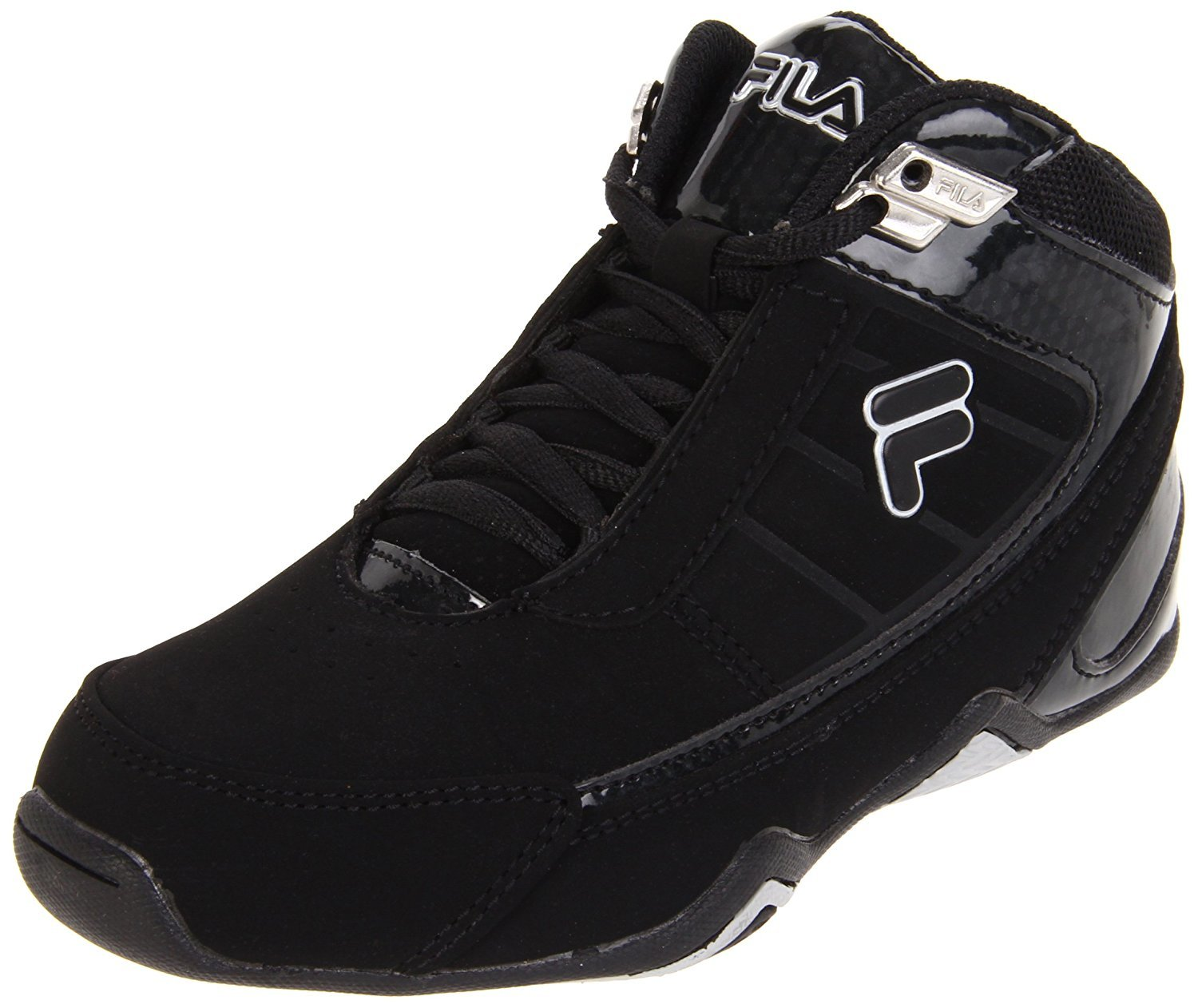 Click here to buy Fila CHANGE THE GAME Kids Black Metallic Silver High Top Athletic Basketball Sneakers Shoes.
